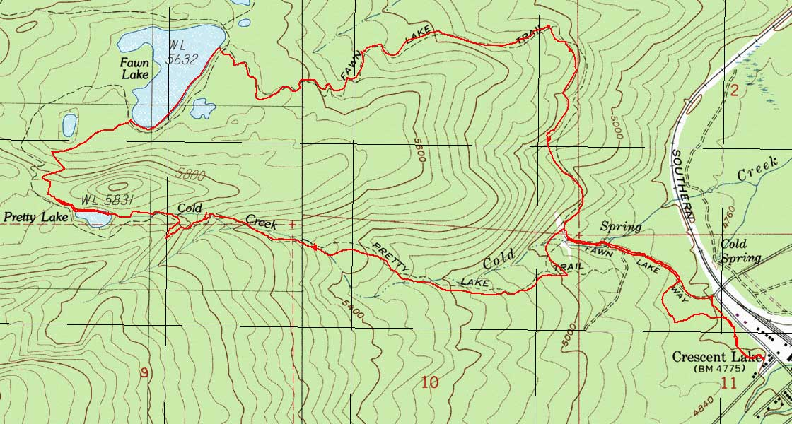 Map of Pretty Lake-Fawn Lake Loop